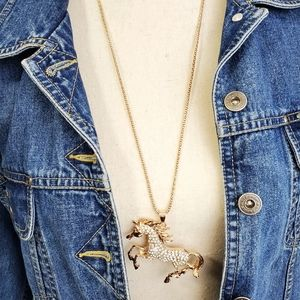 Jewelry - Western Bling Horse Necklace Rosegold